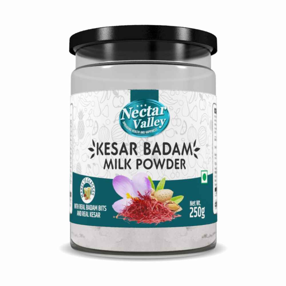 Nectar Valley Kesar Badam Milk Powder | Instant drink mix - for Hot & Cold servings  | Makes 15 glasses | 250gms