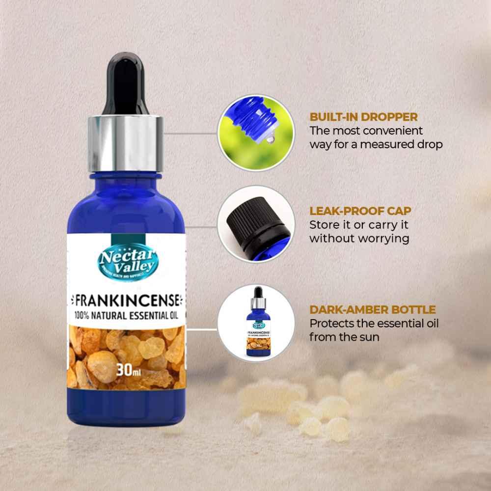 Nectar Valley Frankincense Essential Oil - Boswellia Serrata, 100% Pure | Natural Aromatherapy Oil For Scent / Diffuser / Humidifier,  Massage - Steam Distilled (30ml)