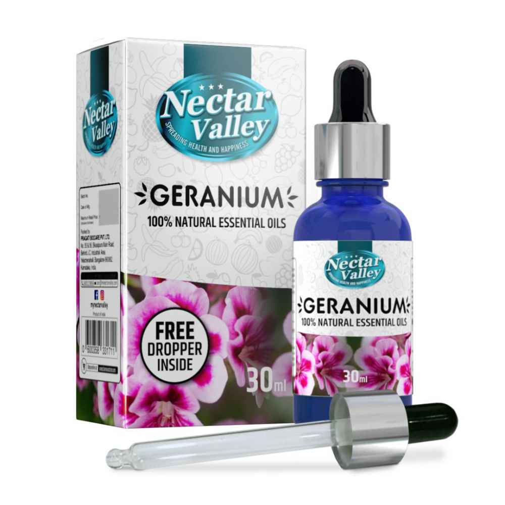 Nectar Valley Geranium Essential Oil, 100% Pure   Natural Aromatherapy Oil For Scent / Diffuser / Humidifier,  Massage - Steam Distilled (30ml)