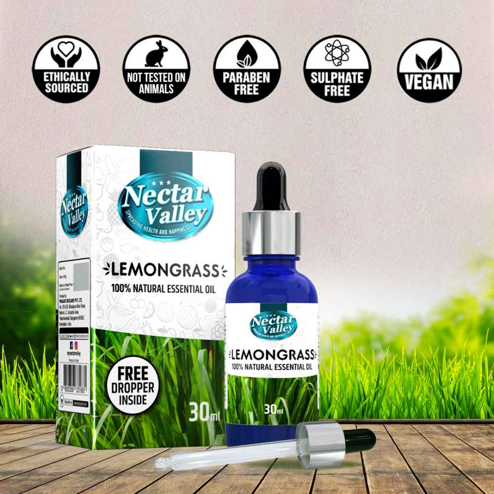 Nectar Valley Lemon grass Essential Oil, 100% Pure   Natural Aromatherapy Oil For Scent / Diffuser / Humidifier,  Massage - Steam Distilled (30ml)