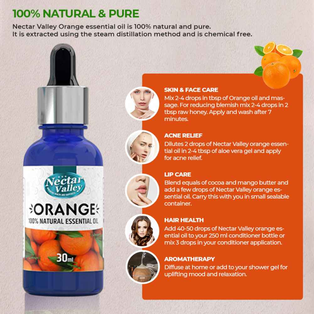 Nectar Valley Orange Essential Oil, 100% Pure | Natural Aromatherapy Oil For Scent / Diffuser / Humidifier, Massage - Steam Distilled (30ml)
