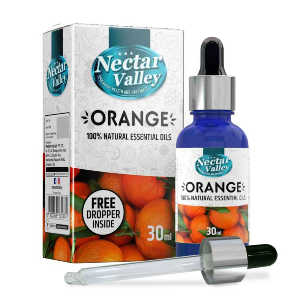 Nectar Valley Orange Essential Oil, 100% Pure   Natural Aromatherapy Oil For Scent / Diffuser / Humidifier, Massage - Steam Distilled (30ml)
