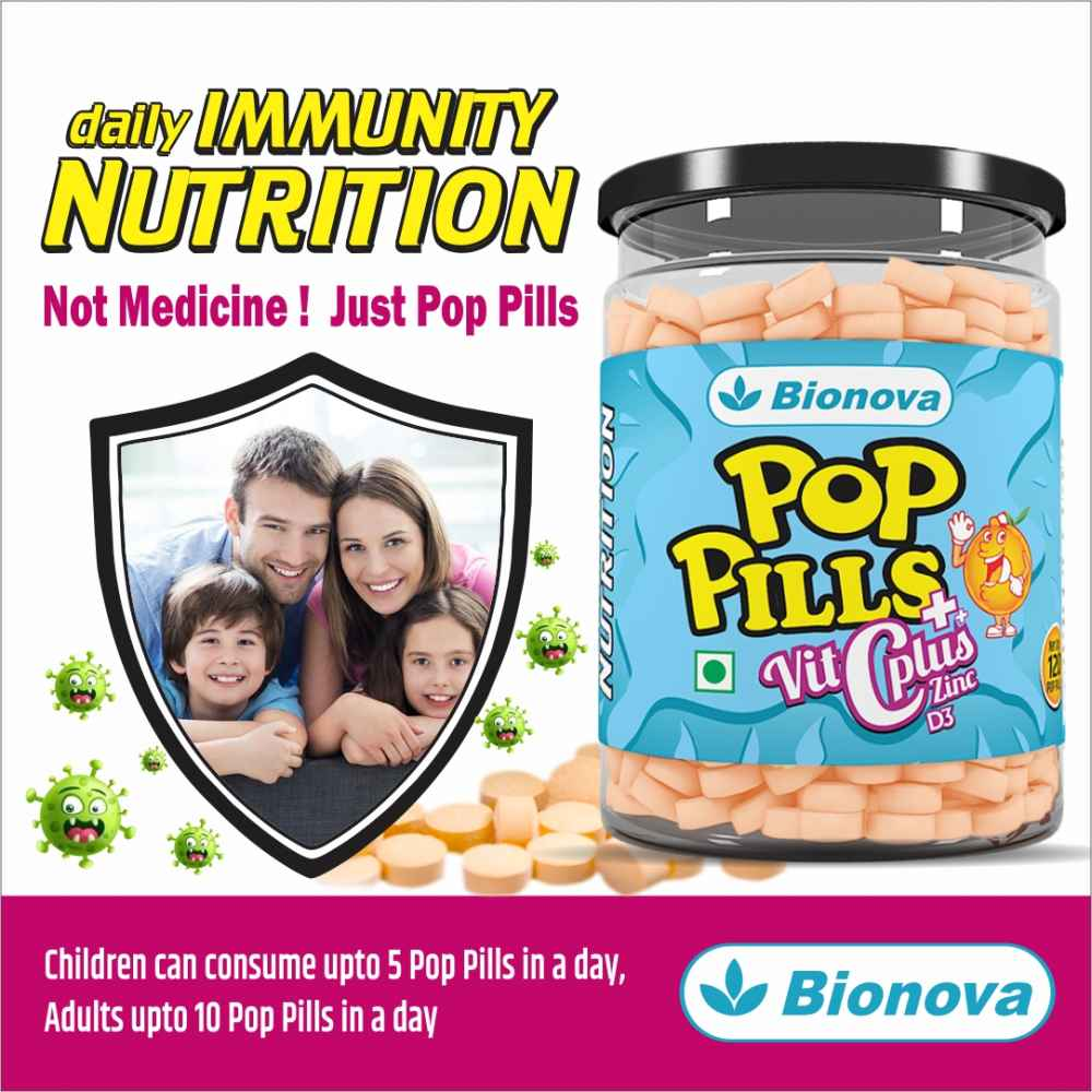 Pop Pills - Nutrients for daily Immunity  | Vitamin C, Vitamin D & Zinc confectionery | For all ages |  - 120 chewable tablets
