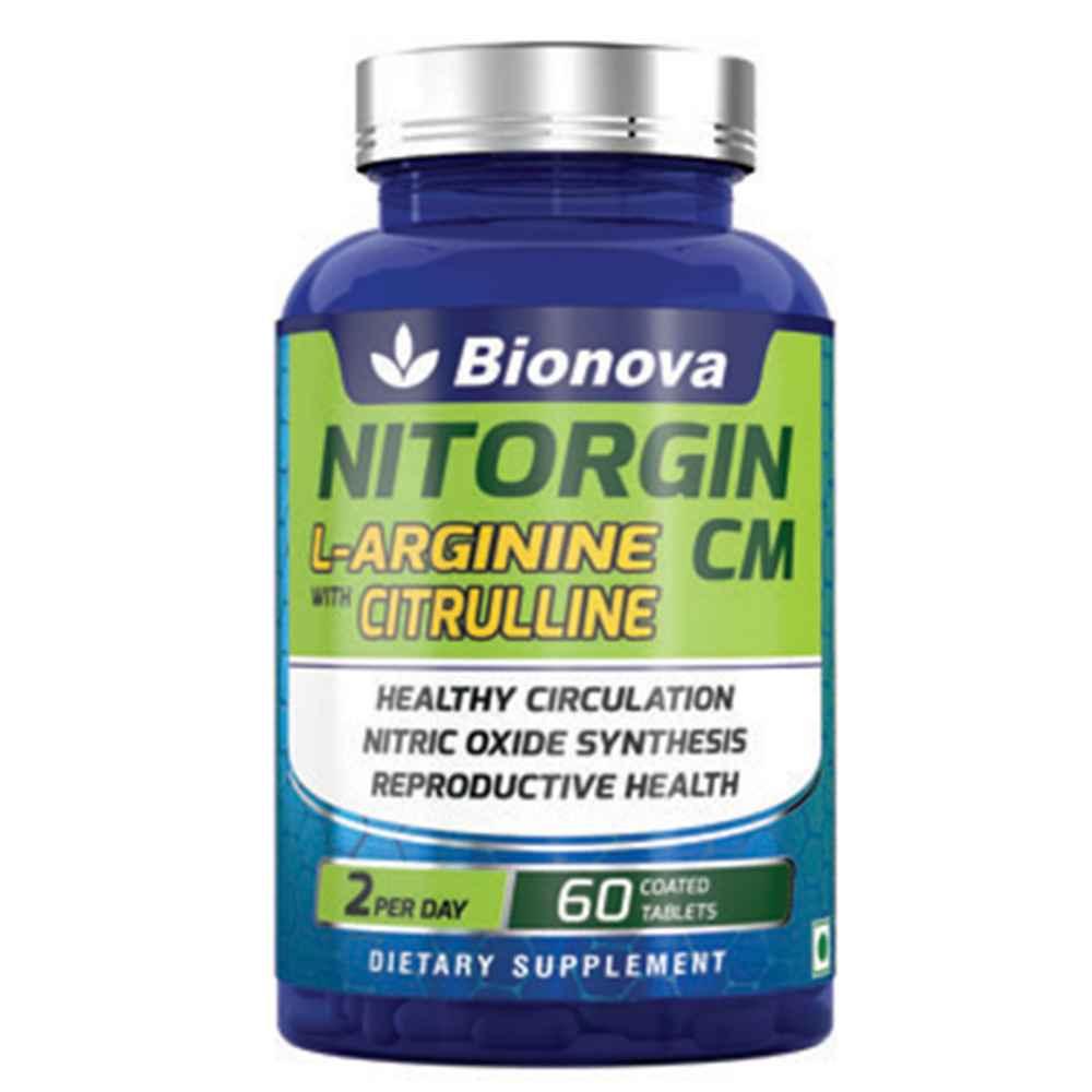 NITORGIN CM  L-arginine 1000mg and Citrulline malate 300mg tablets - 30's pack