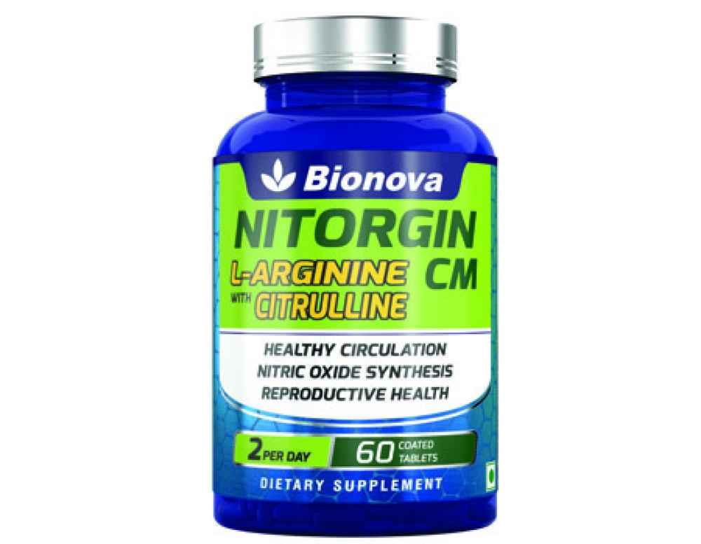 NITORGIN CM  L-arginine 100mg and Citrulline malate 300mg tablets - 30's pack