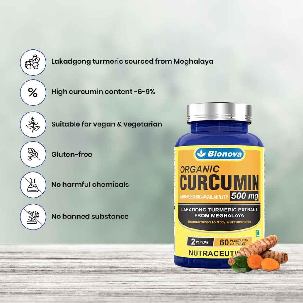 Curcumin Veg Capsules 500mg per serving – 60's Pack, (Lakadong Turmeric Extract), standardized to 95% Curcuminoids, Enhanced Bioavailability