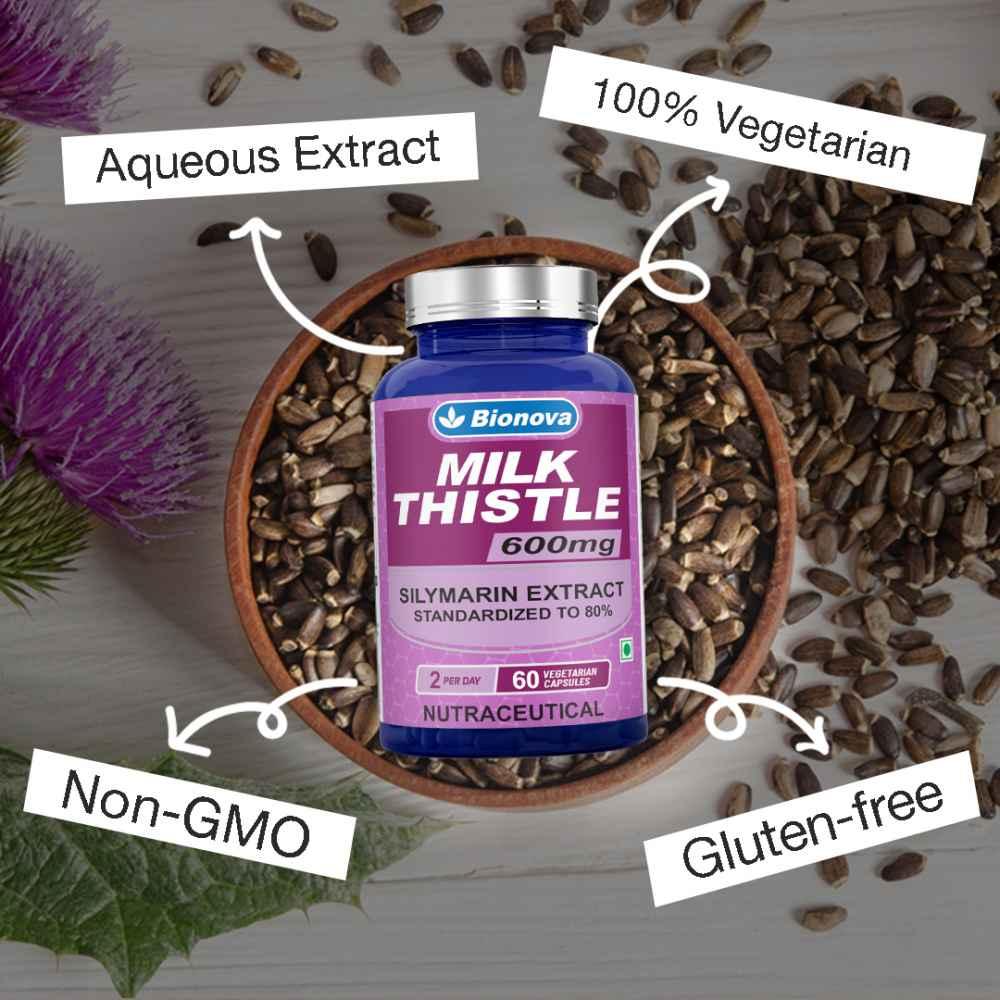 Bionova Milk Thistle Capsules – 60's Pack –Aqueous Silymarin Extract Standardised to 80%