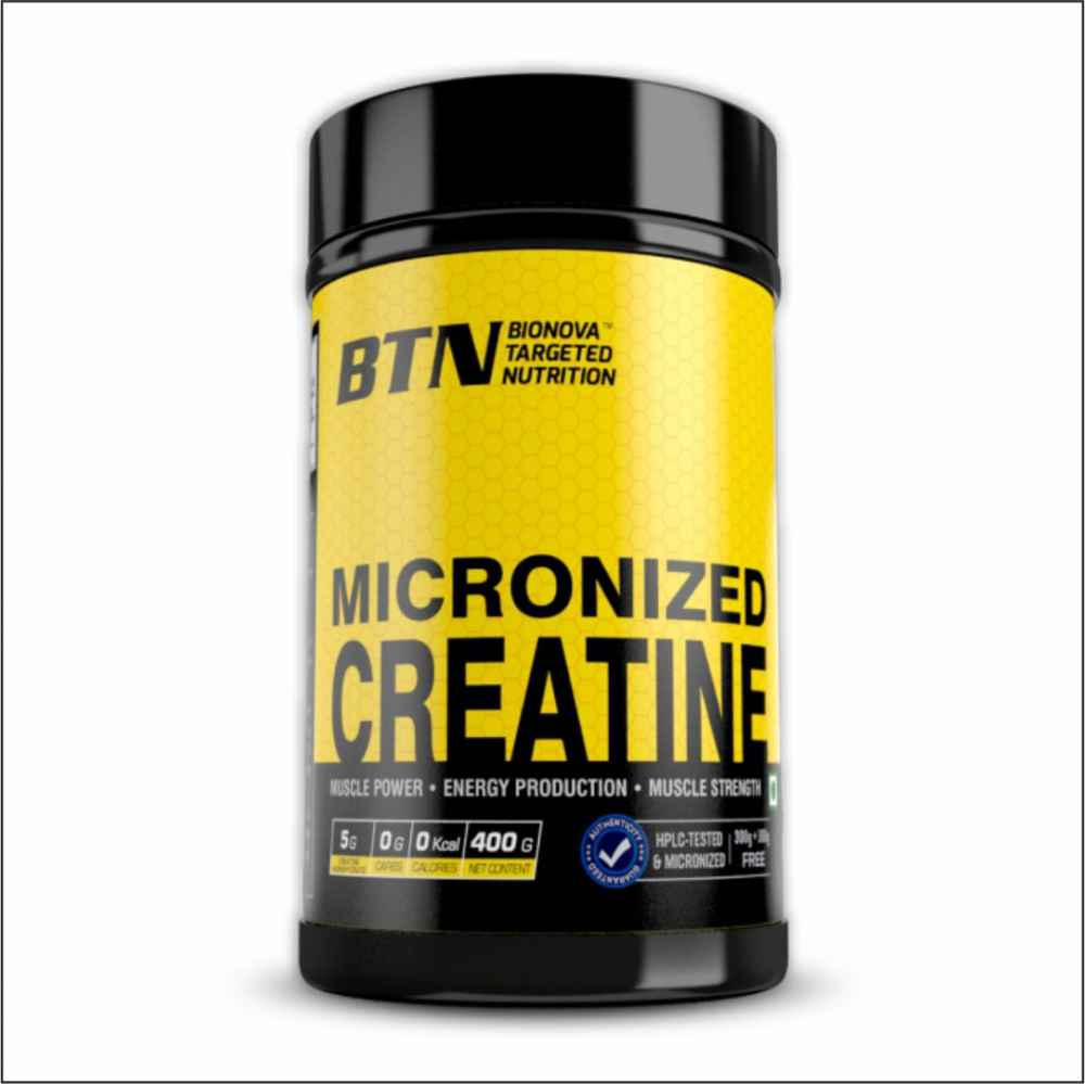 Micronized Creatine Monohydrate Powder (Unflavored, Pure & Raw) - 200 mesh micronised | 400 Grams