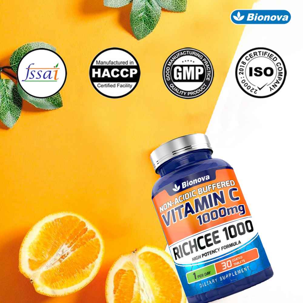 Bionova Vitamin C 1000 mg supplement in form of tablets (Non-Acidic & buffered) | Daily one - Gentle On Stomach | 30's pack