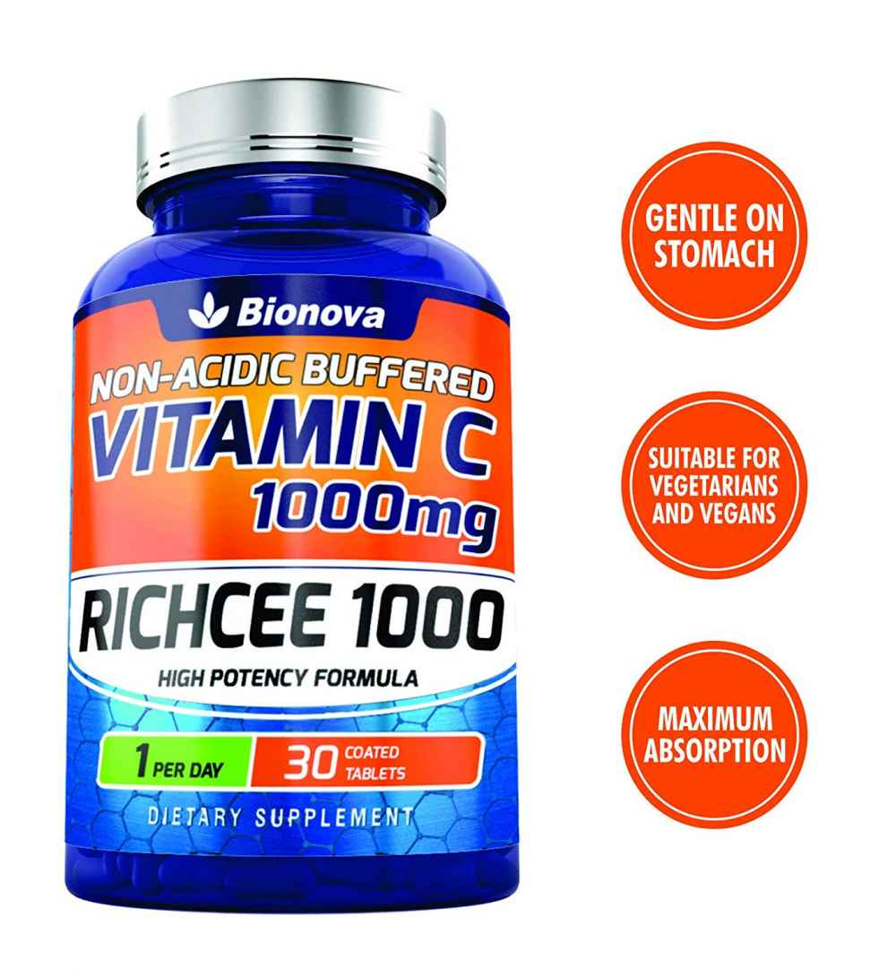 Bionova Vitamin C 1000 mg tablets (Non-Acidic & buffered) -| Daily one - Gentle On Stomach | - 30 coated tablets