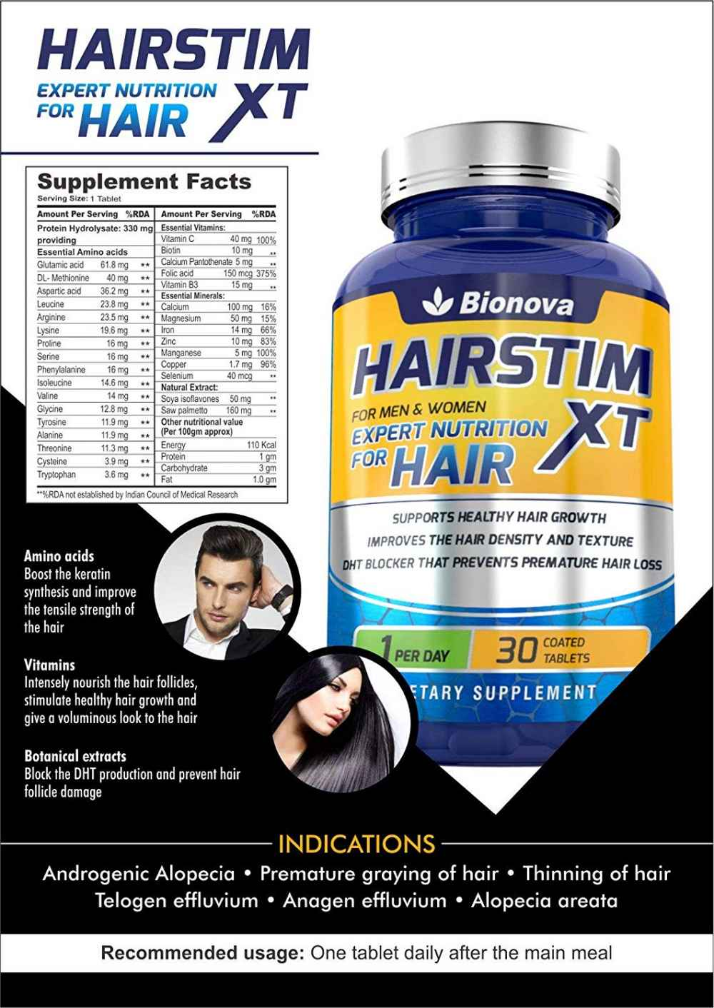 Hairstim-XT Biotin 10,000mcg with Amino Acids, Natural Extracts & Multivitamins for Women & Men | Supplement to control hair loss, hair fall & for Fast Hair Growth – 30 Veg Tablets