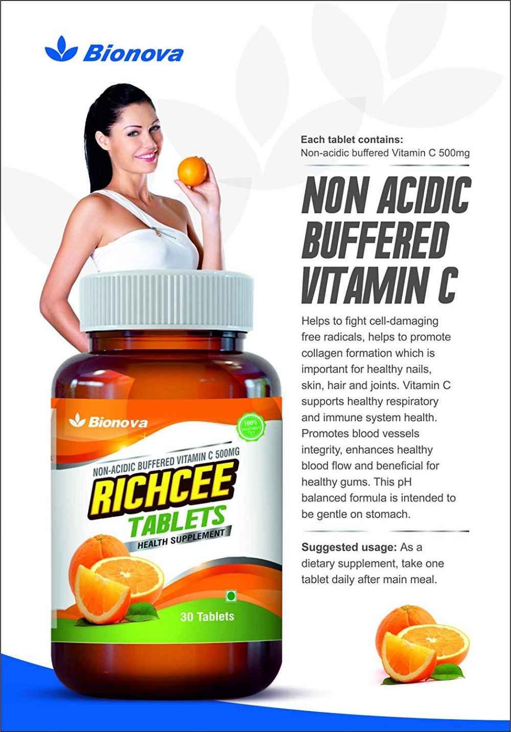 Bionova Vitamin C 500Mg (Non-Acidic | Buffered Vitamin C) - gentle on stomach