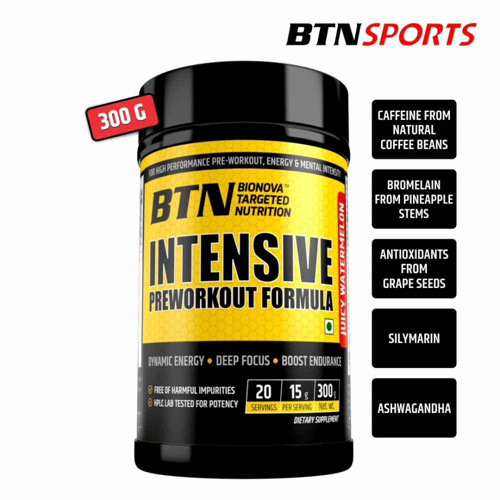 Intensive Pre-Workout, Powerful Pre-Workout Powder with Extreme Energy, Focus and Intensity, Juicy Watermelon, 20 Servings