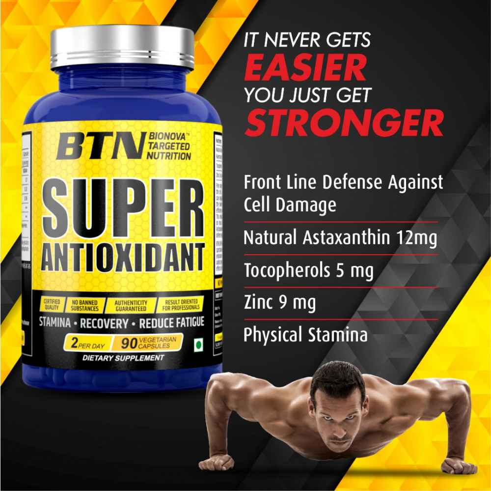 Super Antioxidant Astaxanthin 12 mg, with Natural Tocopherols & Zinc   For Energy, Eyes, Muscle & Skin   - 90 veg capsules