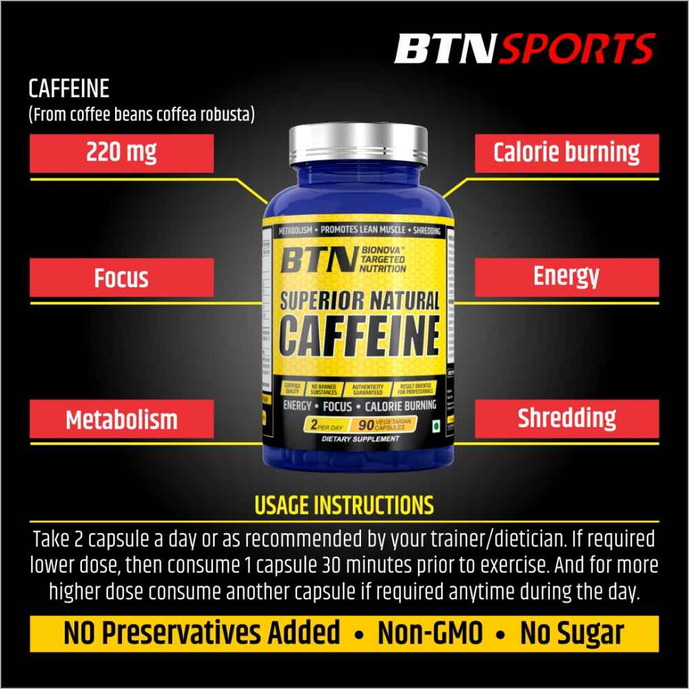 Superior natural caffeine supplement 90's pack (2 capsules a day) provides 220mg