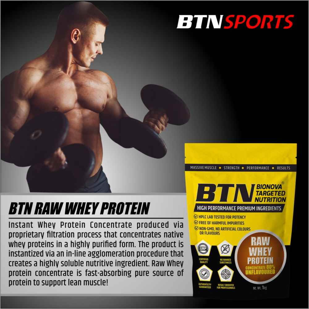 Raw Whey Protein Concentrate 80% (24g Protein per serving), Raw Whey Protein Supplement Powder from USA - Unflavoured (1Kg- 33 Servings)