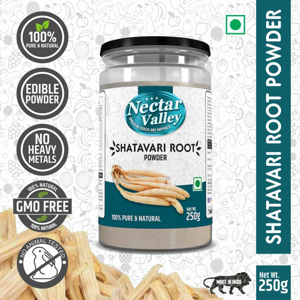 Nectar Valley Shatavari Powder (Asparagus Racemosus), Rejuvenative for Vata and Pitta that Promotes Vitality and Strength 100% pure & organically processed fine powder - 250g