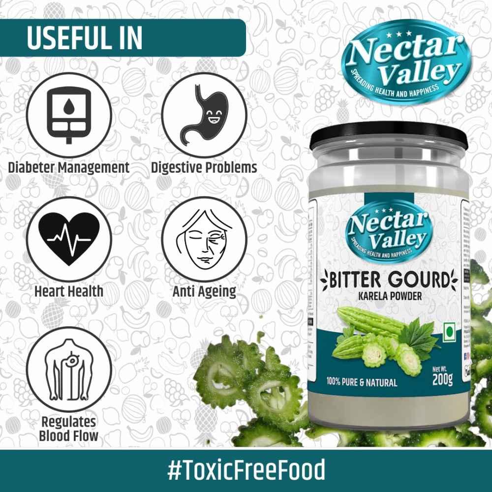 Nectar Valley Karela powder / Bitter Gourd Powder   free from toxic & harmful chemicals   250g