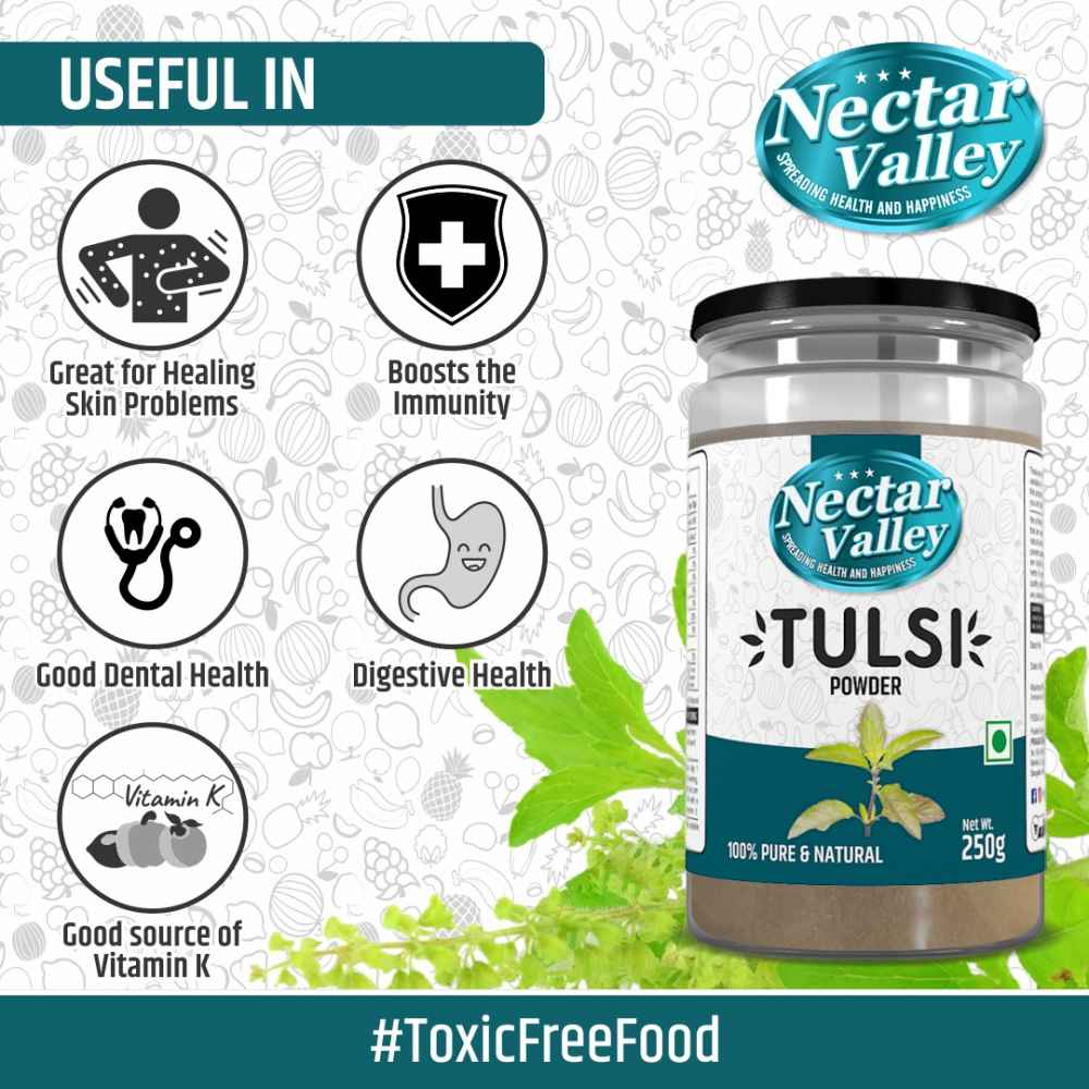 Nectar Valley Tulsi leaf powder (Ocimum sanctum) 250g | Pure and natural, organically processed fine quality holy basil powder