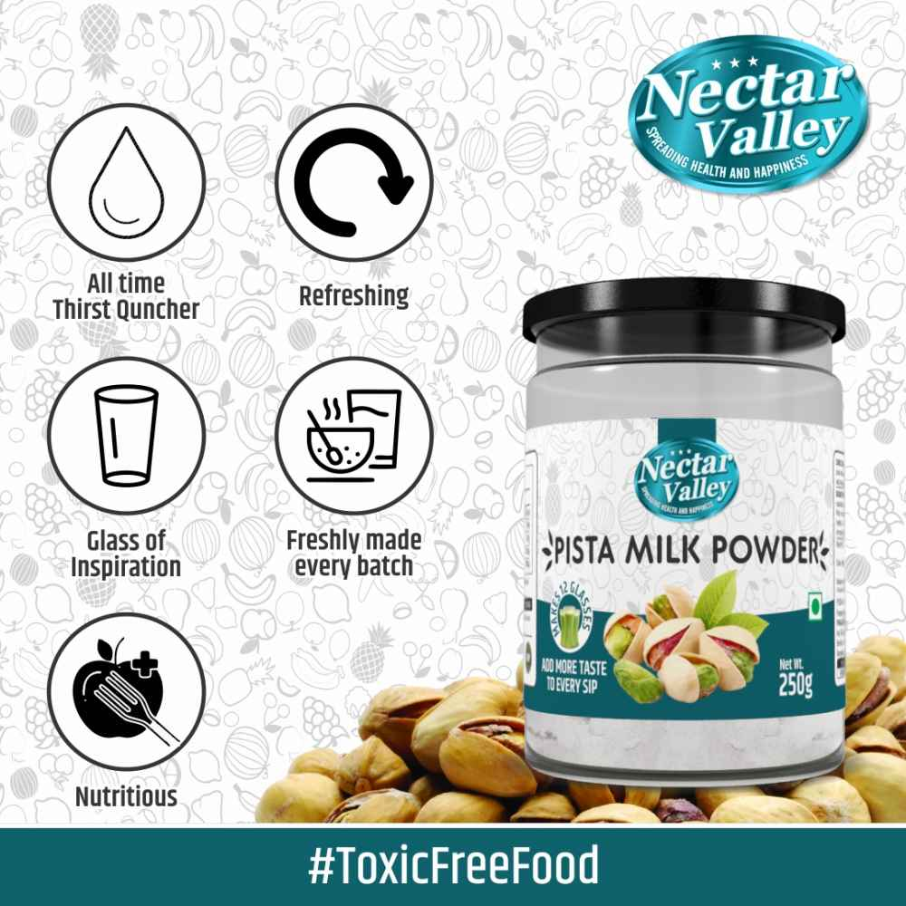 Nectar Valley Pista Milkshake Powder, No Refined Sugar Added | Just Add 2 Spoons Powder In A Glass Of Milk | Makes 12 Glasses - 250g