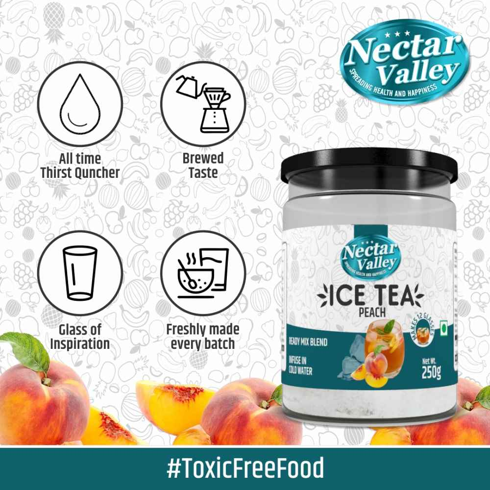Nectar Valley Instant Ice Tea Mix - Peach | Ready mix blend | Brewed from real leaves - Makes 12 glasses - 250g
