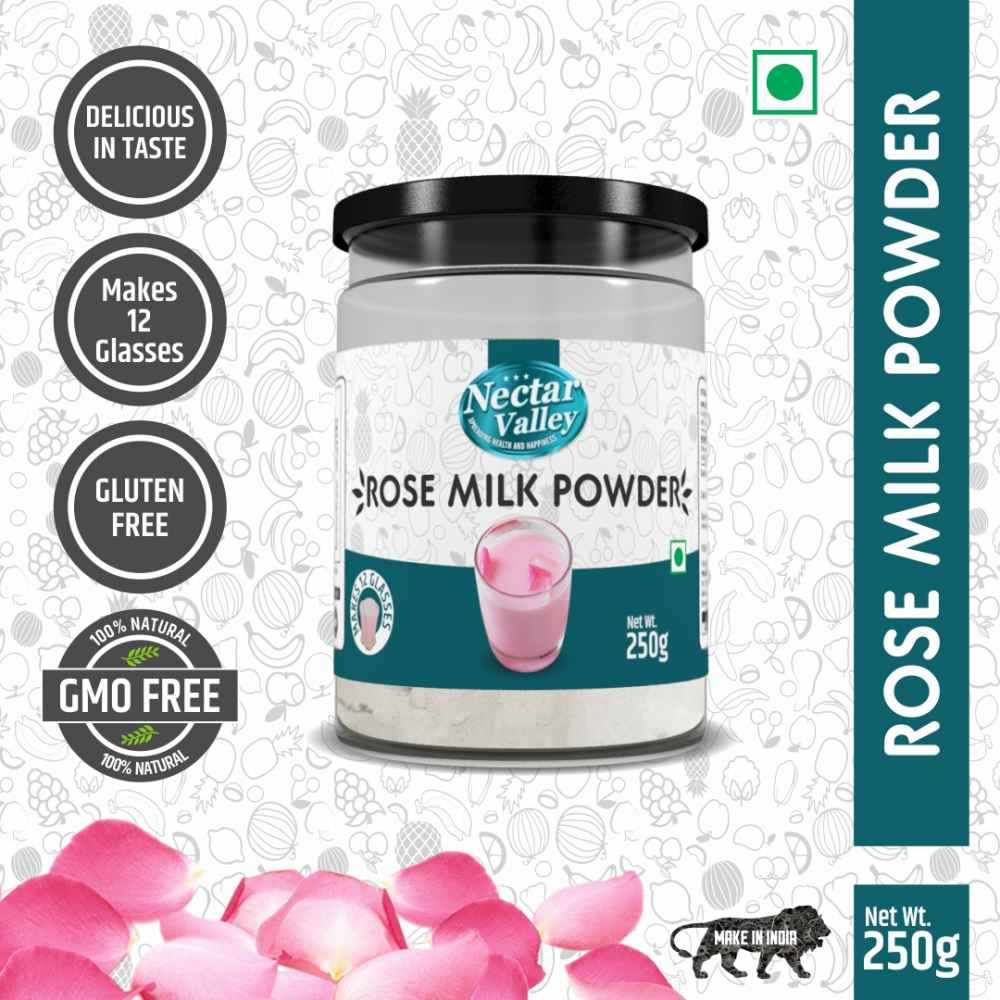 Nectar Valley Rose Milk Powder, no refined sugar added | Just Add 2 Spoons Powder In A Glass Of Milk | Makes 12 Glasses - 250g