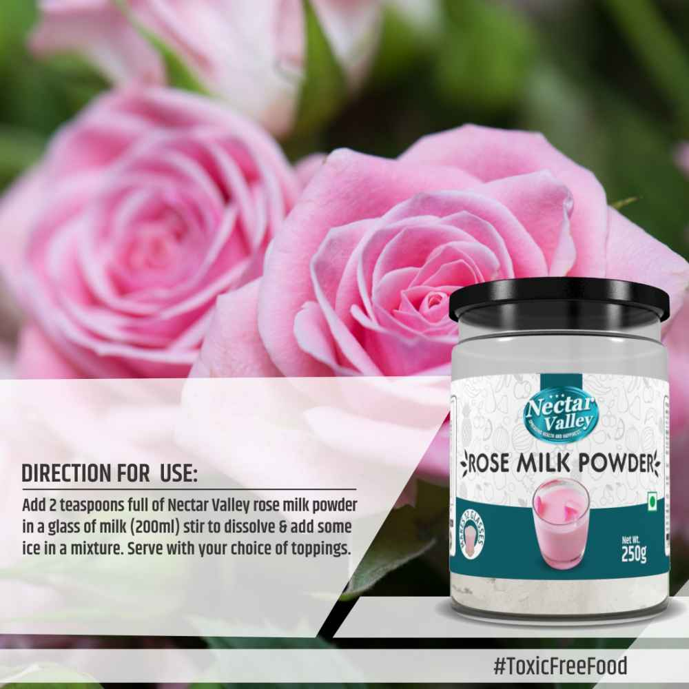Nectar Valley Rose Milk Powder, no refined sugar added   Just Add 2 Spoons Powder In A Glass Of Milk   Makes 12 Glasses - 250g