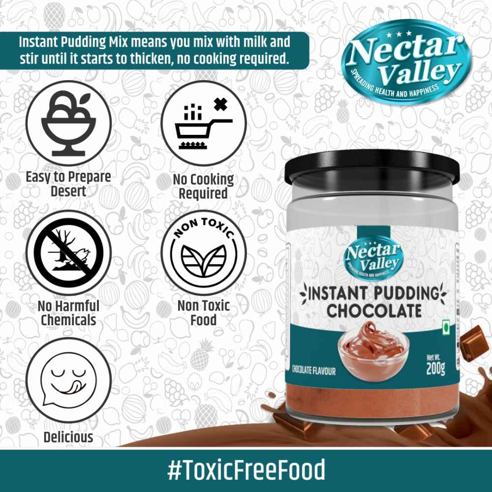 Nectar Valley Chocolate Instant Pudding Mix | Quick creamy desert mix |  All you need is Milk | 100% Vegetarian - 200g