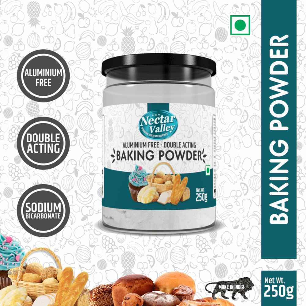 Nectar Valley Baking Powder | Double acting - Aluminium Free | For better fluffyness & doesn't give metallic aftertaste - 250g