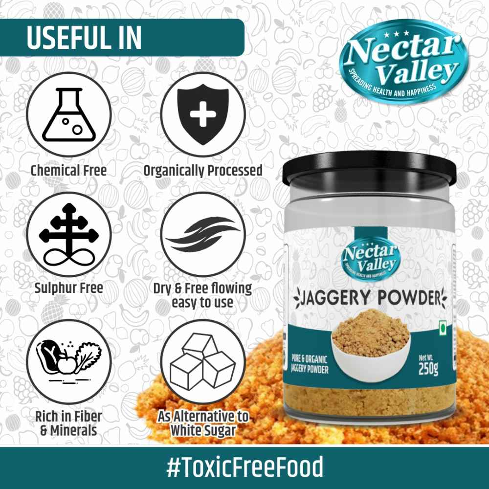 Nectar Valley Jaggery powder (Gur) | Free from additives, pesticides & Nutritionally rich |Pure & Organically processed - 250g