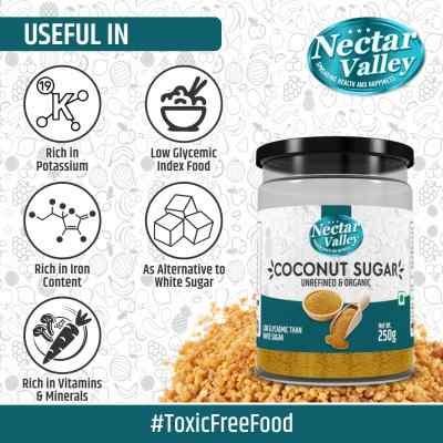 Nectar Valley Coconut Sugar | Natural sweetener with minerals & low glycemic index | Replace 1:1 refined sugar - 250g