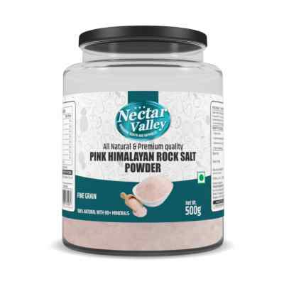 Nectar Valley Pink Himalayan Rock Salt Powder | All natural, free of toxins and impurities | Free flowing - 500gm