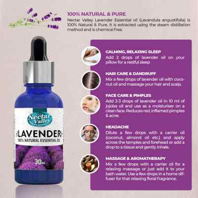 Nectar Valley  Lavender Essential Oil, 100% Pure | Natural Aromatherapy Oil For Scent / Diffuser / Humidifier,  Massage - Steam Distilled (30ml)