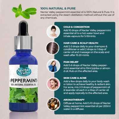 Nectar Valley Peppermint Essential Oil, 100% Pure   Natural Aromatherapy Oil For Scent / Diffuser / Humidifier, Massage - Steam Distilled (30ml)