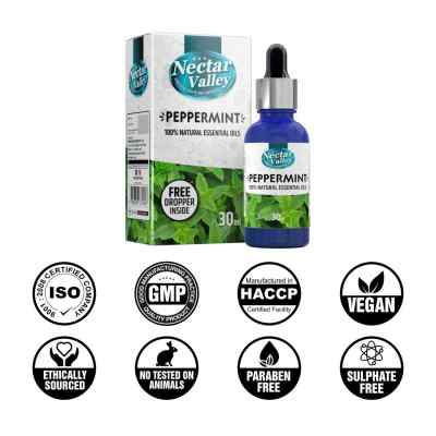 Nectar Valley Peppermint Essential Oil, 100% Pure | Natural Aromatherapy Oil For Scent / Diffuser / Humidifier, Massage - Steam Distilled (30ml)