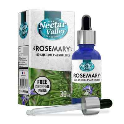 Nectar Valley Rosemary Essential Oil, 100% Pure | Natural Aromatherapy Oil For Scent / Diffuser / Humidifier, Massage - Steam Distilled (30ml)