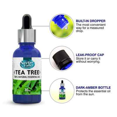 Nectar Valley Tea Tree Oil, 100% Pure   Natural Aromatherapy Oil For Scent / Diffuser / Humidifier, Massage - Steam Distilled (30ml)