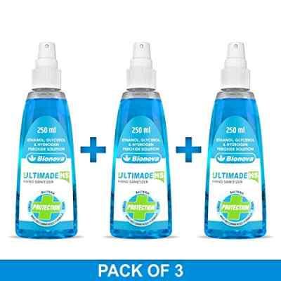 Bionova Ultimade Hand Sanitizer 80% Alcohol based, Pleasant fragrance, leaves hands feeling soft & moist - 250ml (Pack of 3)