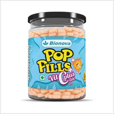 Pop Pills - Nutrients for daily Immunity    Vitamin C, Vitamin D & Zinc confectionery   For all ages    - 120 chewable tablets