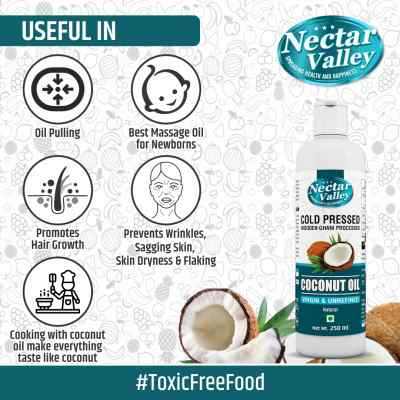 Nectar Valley Cold Pressed Virgin Coconut Oil - Extracted from Fresh Coconut Milk | 100% Natural & Unrefined - 250ml