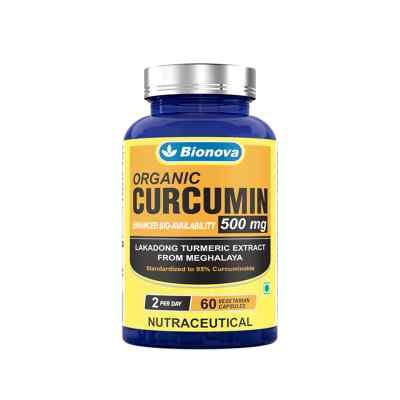 Bionova Curcumin Capsules – 60's Pack, Lakadong Turmeric Extract from Meghalaya, standardized to 95% Curcuminoids, Enhanced Bioavailability