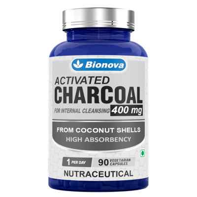 Activated Charcoal Capsules- 90's pack - Mild on stomach & non habit forming - for Internal detoxification