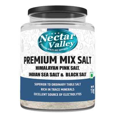 Nectar Valley Premium Mix Salt powder-1 kg Pack- All Natural mix of three salts- Pink Himalayan salt, Indian sea salt & Black salt