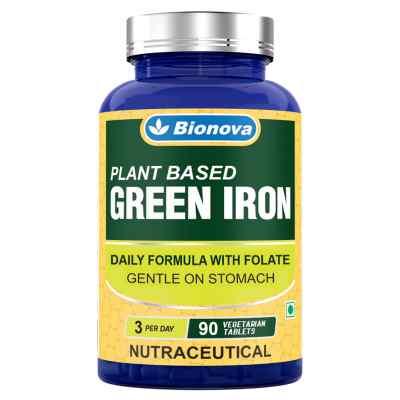 Plant based Iron Supplement-  90's pack, suitable for vegans, gentle on stomach, no vomiting sensation & metallic after taste
