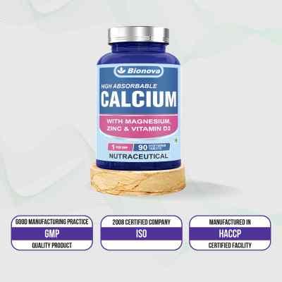Bionova Calcium Tablets,  superior absorption of Calcium with Vitamin D, Zinc & Magnesium 90's pack