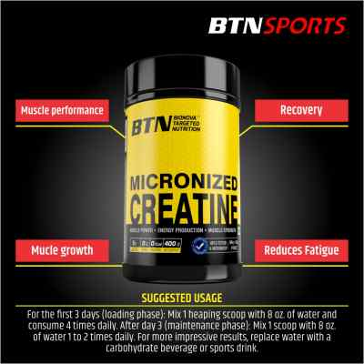 BTN Micronized Creatine Monohydrate Powder | 200 mesh micronised | 400 Grams (Unflavored, Pure & Raw)