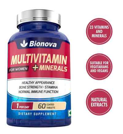 Bionova Multivitamin women for healthy appearance, stamina, immunity and bone strength, one a day formula, 60's pack