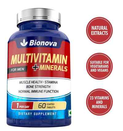 Bionova Multivitamin Men for muscle function, energy, immunity and metabolism, one a day formula, 60's pack