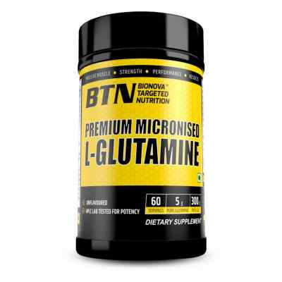 BTN Premium Micronized Pure L-Glutamine powder unflavored & suitable for vegan | Instantly mixes | 300g