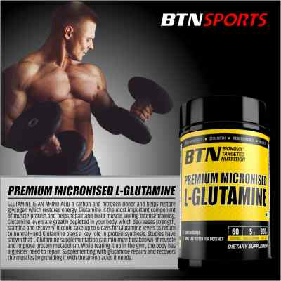 BTN Premium Micronised L-Glutamine unflavored and odorless powder 300g